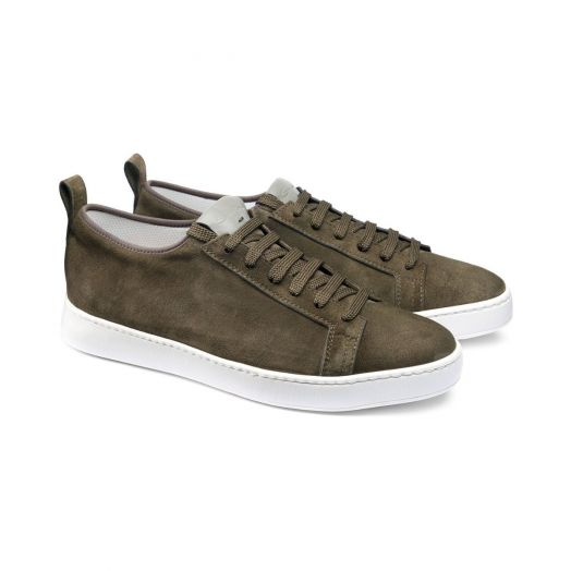 Khaki Suede Low-Top Sneakers