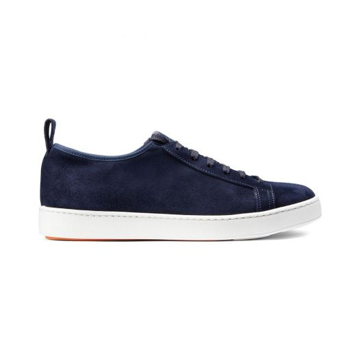 Navy Suede Low-Top Sneakers