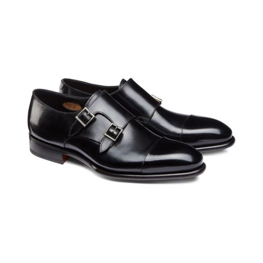 Black Double-Buckle Leather Shoes