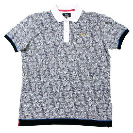 Micro Pattern Print Pique Slim Fit Polo Shirt