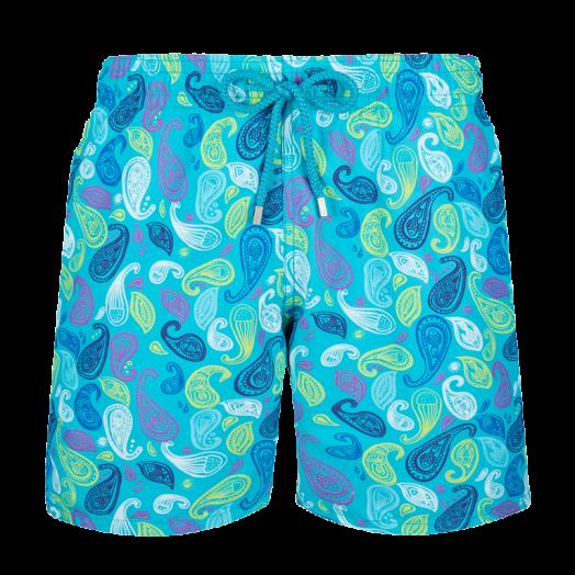 Light Azure 'Ocean Paisley' Moorea Swim Shorts