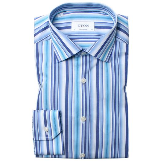 Blue Multi Striped Fine Twill Contemporary Shirt