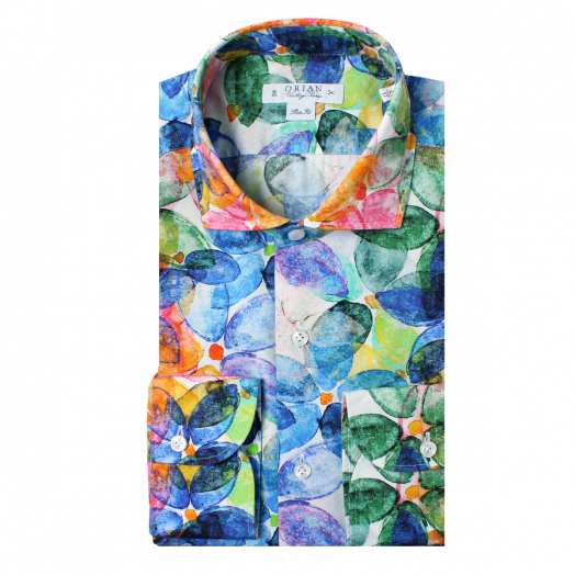 Multicolour Flower Print Cotton Shirt
