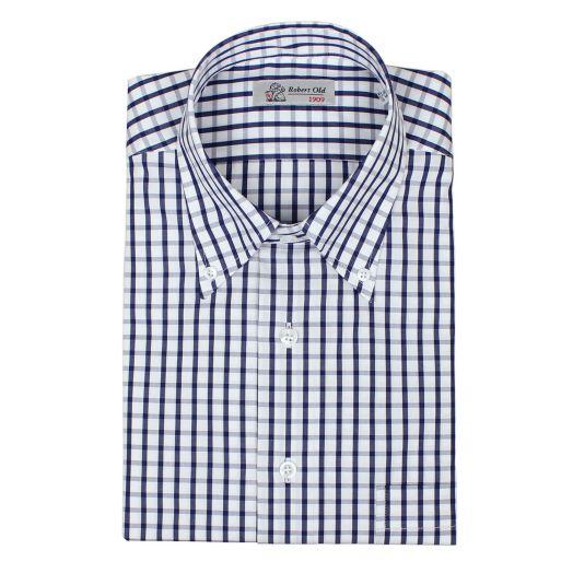 Navy & White Check Premium Cotton Shirt