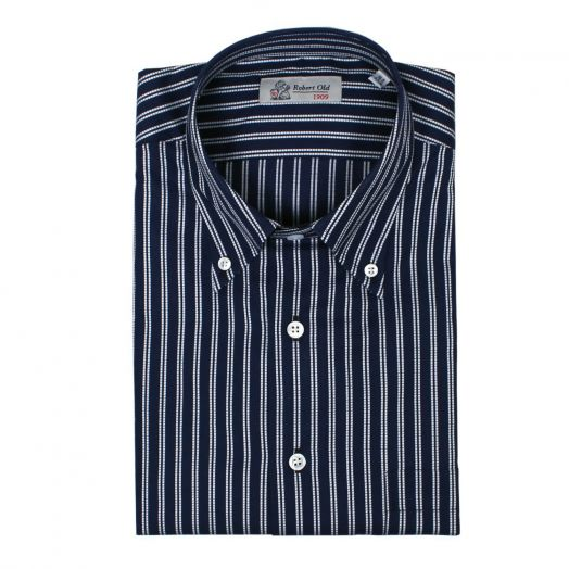 Navy & White Pin-check Stripe Premium Cotton Shirt