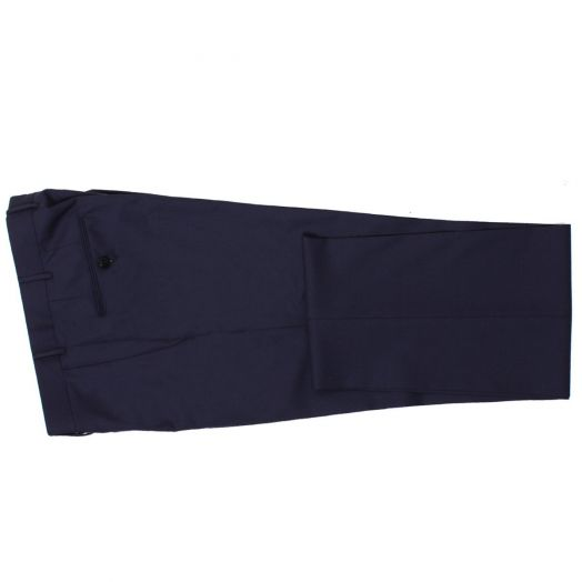Navy Wool Regular Fit Cool Effect Trousers