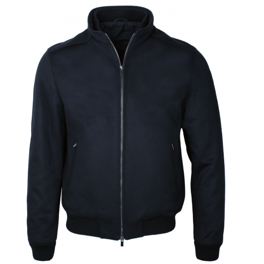 Navy Pure Cashmere Bomber Jacket