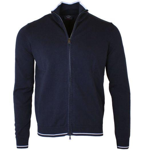 Navy Cotton Blend Zip Through Sweatshirt