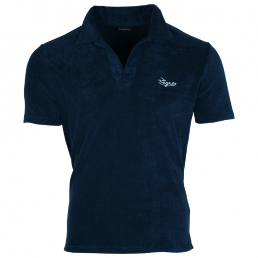 Navy Cotton Towelling Polo Shirt