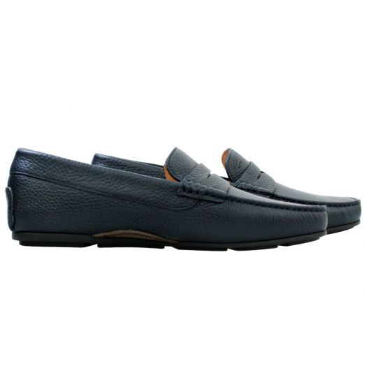 Navy Blue Leather Driving Shoes