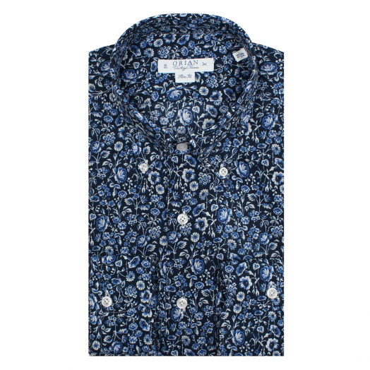 Navy Flower Print Cotton Shirt