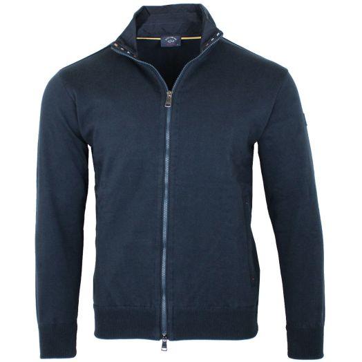 Navy Full Zip Cotton Sweater