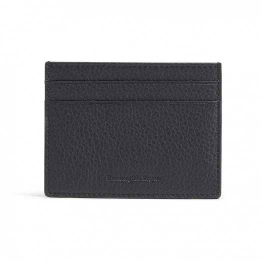 Navy Grained Calfskin Leather Card Case