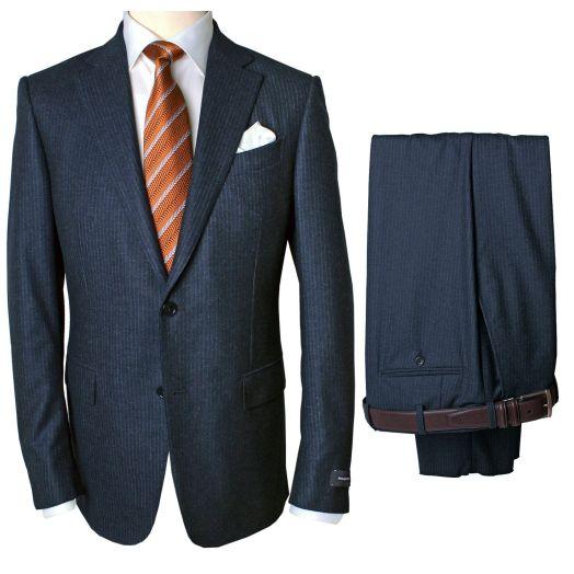 Dark Blue Flannel Stripe Two Piece Wool Suit