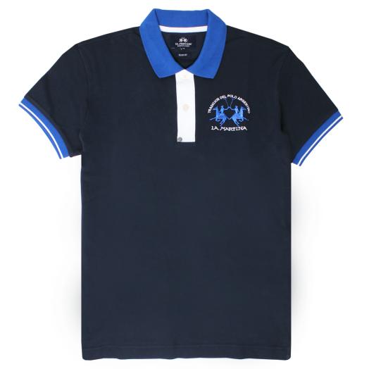 Navy Slim Fit Stretch Cotton Polo Shirt