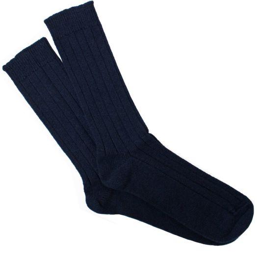 Navy Ribbed Cashmere Blend Socks