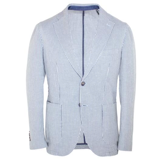 Navy Stripe Cotton & Linen Blazer