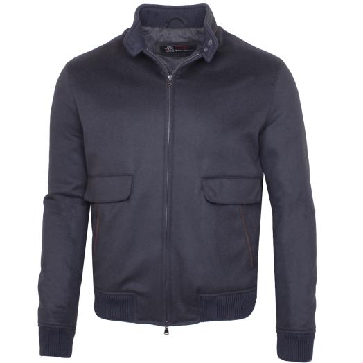 Dark Navy Virgin Wool and Silk Blend Bomber Jacket