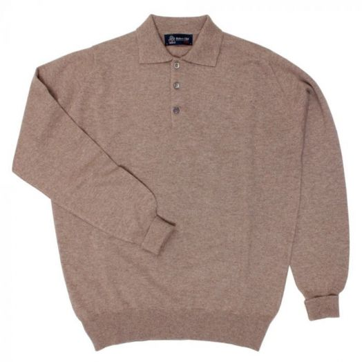 The Oban 3 button long sleeve Cashmere Polo Sweater - Mushroom