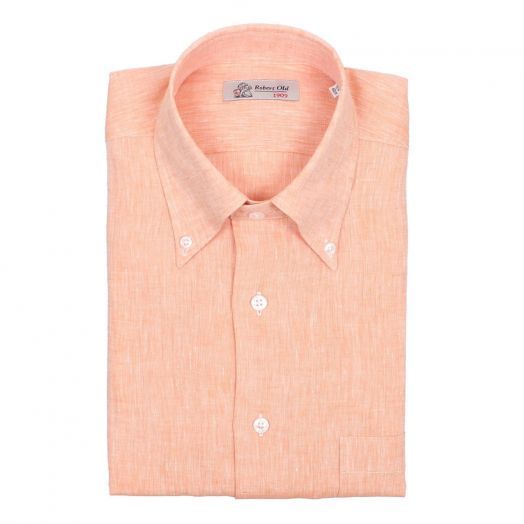 Orange 100% Linen Long Sleeve Shirt