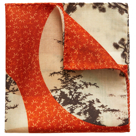 Orange Kyoto Motif Pocket Square