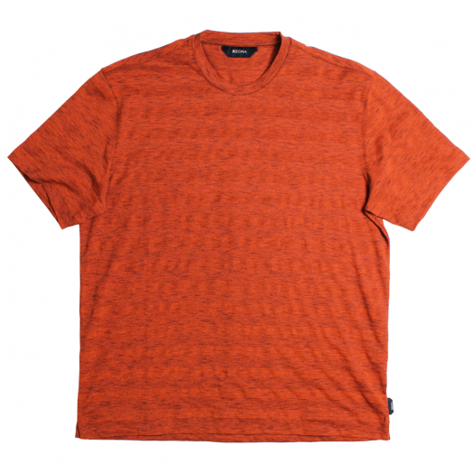 Orange Striped Cotton T-Shirt