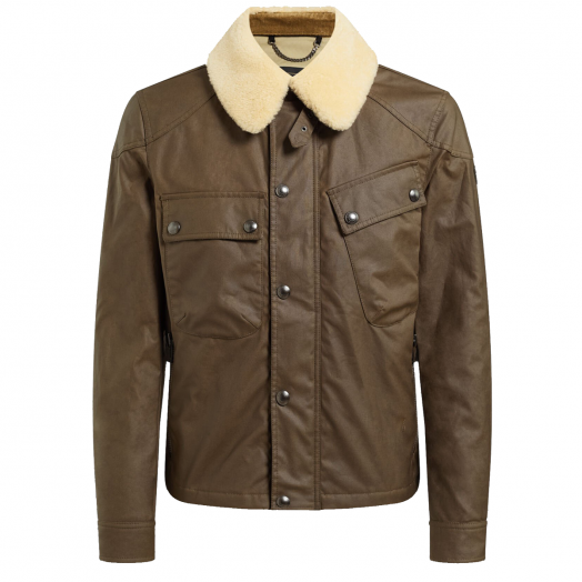 Winsor Moss Waxed Cotton Patrol Jacket with Shearling