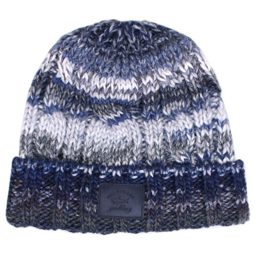 Blue Knitted Wool Beanie Hat