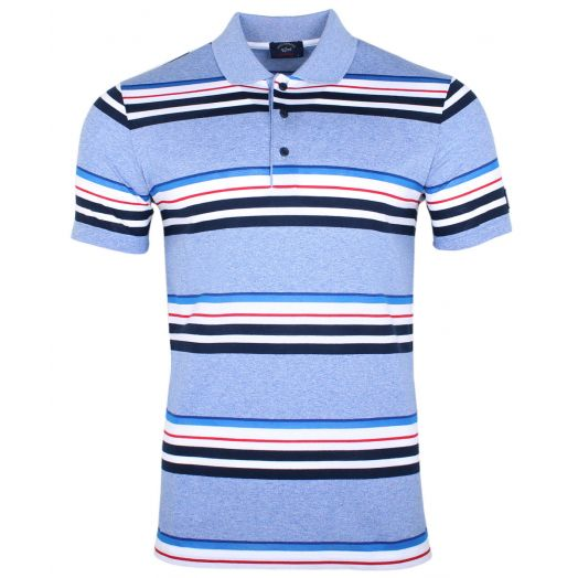 Multi Stripe & Blue Melange Cotton Polo Shirt