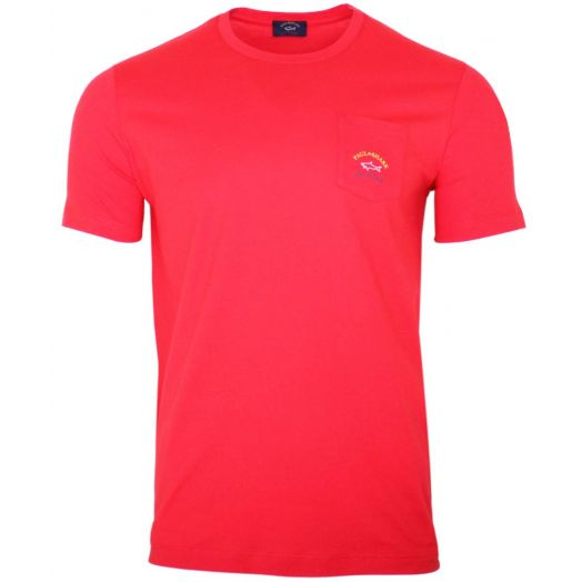 Solid Red Patch Pocket T-Shirt