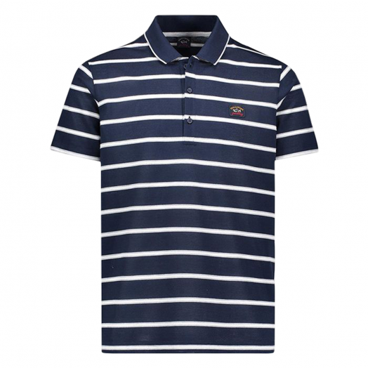 Blue, Grey & White Stripe Organic Cotton Polo