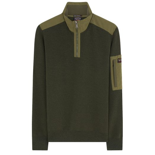Army Green Watershed Utility Half Zip Sweater