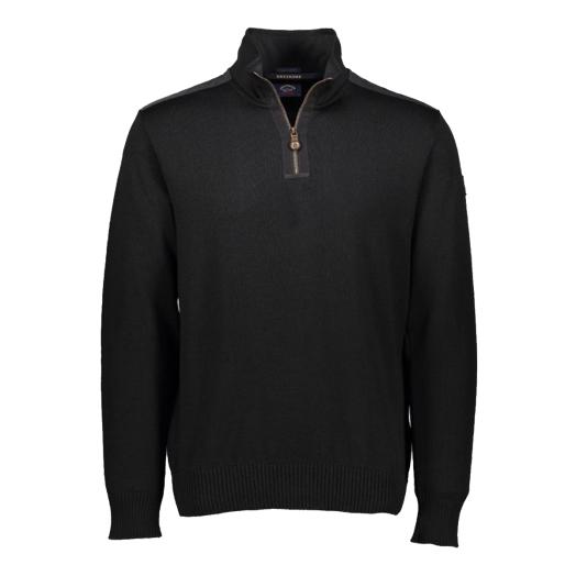 Black Bretagne Half-Zip Wool Sweater