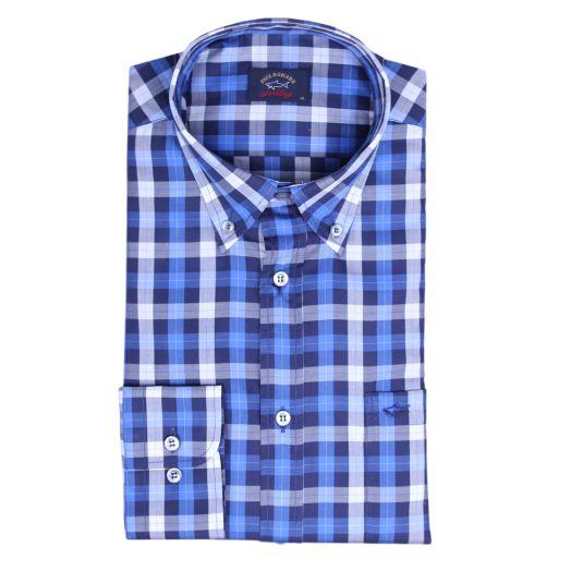 Blue Check Button-Down Cotton Shirt