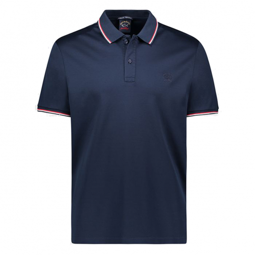 Blue Organic Cotton Pique Polo With Red & White Trim