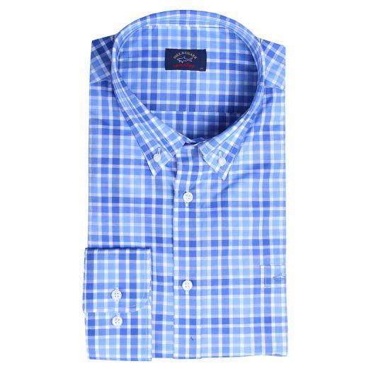 Blue & White Tight Check Button-Down Shirt