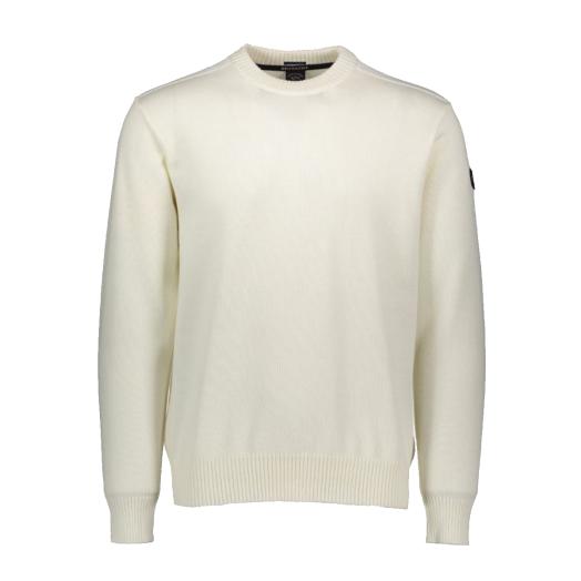 Cream Pure Wool Bretagne Round Neck Sweater