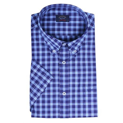 Navy & Blue Check Short Sleeve Shirt