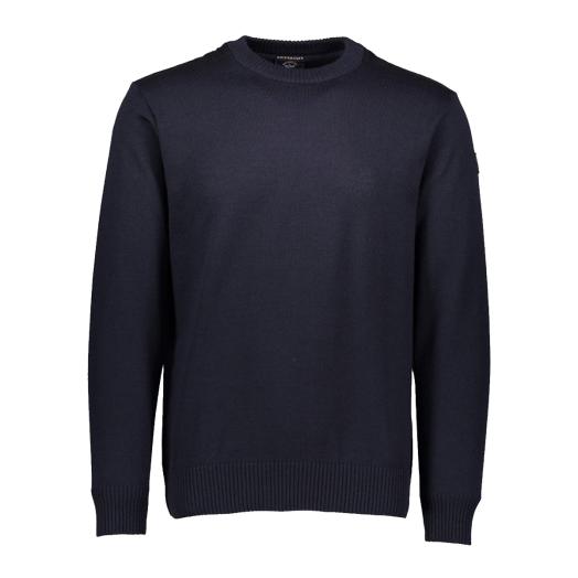 Navy Pure Wool Bretagne Round Neck Sweater