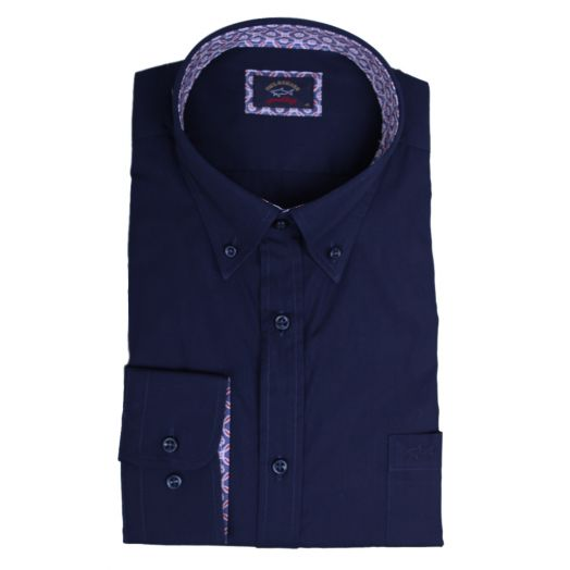 Navy Contrast Button-Down Cotton Popeline Shirt