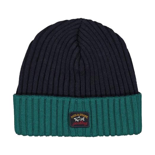 Navy & Green Ribbed Knit Wool Hat
