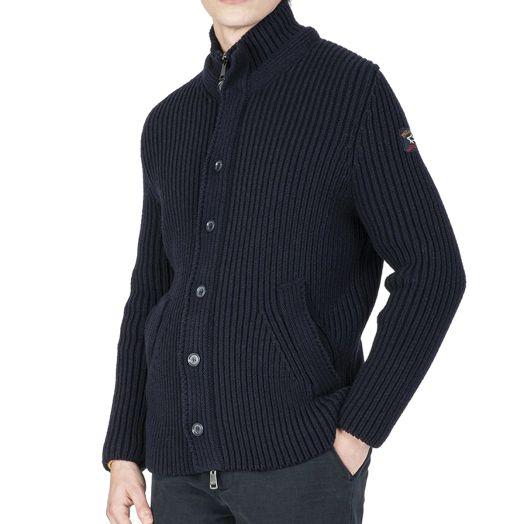 Navy Merino Wool Button-Up Fisherman Sweater