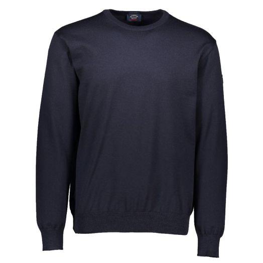 Navy Merino Wool Roundneck Sweater