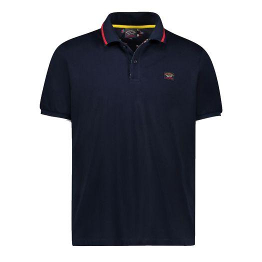 Navy Organic Cotton Logo Pique Polo Shirt