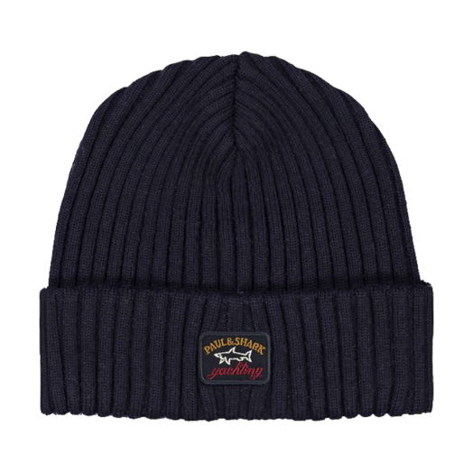 Navy Ribbed Knit Wool Hat