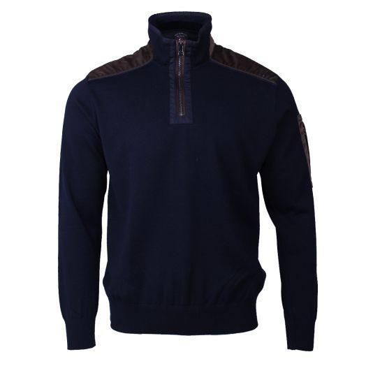 Navy Wool Half Zip Velvet Detail Sweater