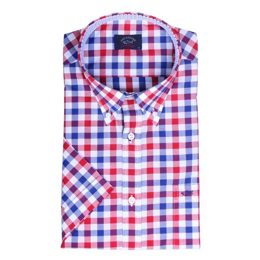 Red & Blue Check Collar Detail Short Sleeve Shirt