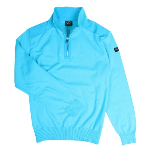 Turquoise Watershed Quarter Zip Cotton Sweater