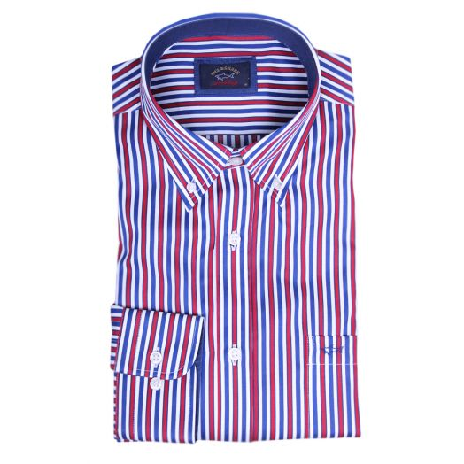 White & Blue Red Striped Button-Down Cotton Shirt