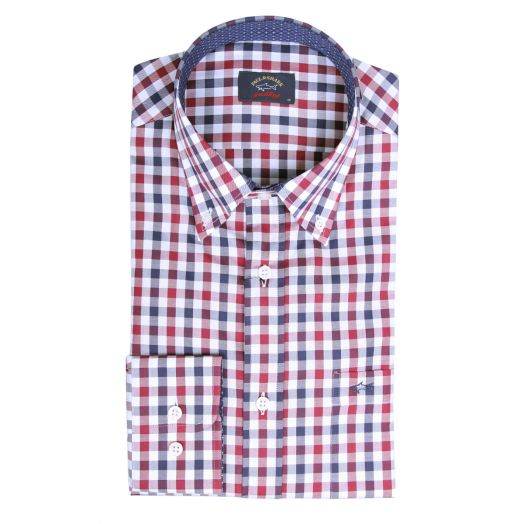 White & Navy Red Check Button-Down Cotton Shirt